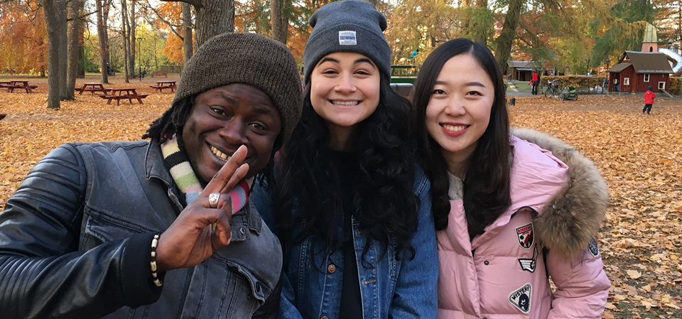 Three smiling students surrounded by autumn leaves