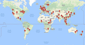 World map with all locations for Global Alumni Day 2017 events marked out.