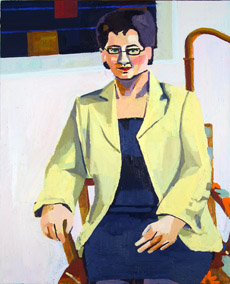 A painted portrait of professor Lena Marcusson